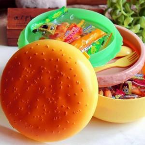 PP 1000mL Double Tier Children Hamburger Bento Lunch Box Contenitore per alimenti Contenitore con cucchiaio forchetta Lunchbox Contenitore Bento PTSP