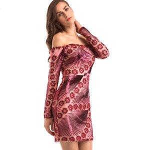 Mulheres de Luxo Vestido de Festa de Lantejoulas 2017 Moda Outono Fora Do Ombro Flores de Costura de Ouro Bordado Cocktail Club Bodycon Vestido
