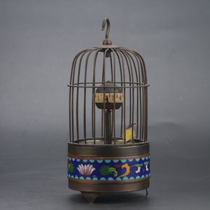 Coleccionable antiguo chino Cloisonne Brass Handwork Birdcage reloj mecánico