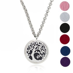 316L Stainless Steel 30mm tree of life Perfume Locket Essential Oil Diffuser Locket Pendant,24 Chain With 6 Refill pads
