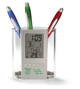 Cadeaux d'affaires de bureau de détenteur de penholder de calendrier d'alarme électronique bon marché transparent cadeaux publicitaires personnalisés