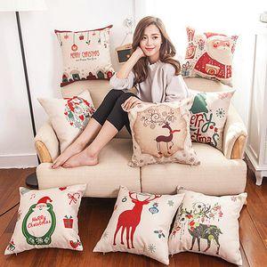 Christmas, New Year happy cartoon linen pillow pillows on the sofa waist pillow case 45 * 45 cm