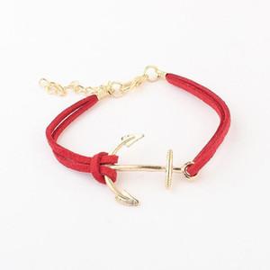 Charm Bracelets Leather Bracelet Antique Anchor Bangles Bracelets Double Layers Handmade Fashion Jewelry Accessory chain bracelet Brace lace