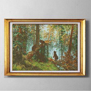 Ours dans la forêt de pins, bricolage fait à la main Cross Stitch Needle Sets Ensembles de broderie peintures comptées imprimées sur toile DMC 14CT / 11CT