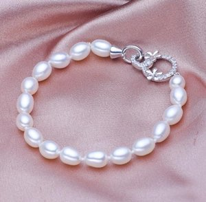 Hot sell 6-7mm white Water droplets shape natural pearl bracelet SL105-167