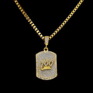 Nuevo Mens 14 k chapado en oro Emoji 100 Jesus Dog Tag colgante collar Hip Hop 3 mm 24 pulgadas caja de la cadena