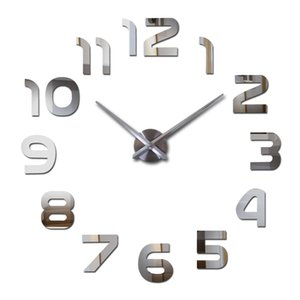 Al por mayor-2016 nuevo reloj de pared mudo real reloj sala de estar aguja cuarzo decoración del hogar relojes acrílico espejo adhesivo diy envío gratis