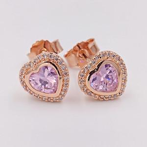 عيد الحب 925 فضة الخرز متألقة الحب، باندورا الوردي يناسب الأوروبي باندورا نمط مجوهرات 280568PCZ روز مطلية بالذهب ترصيع