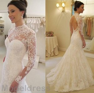 2019 Vintage Mermaid Lace Wedding Dresses Sheer High Neckline With Long Sleeves Backless Sweep Train Bridal Gowns Vestido De Noiva Cheap