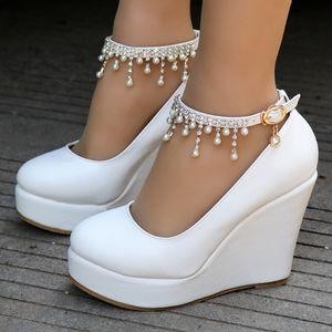 Kristal Kraliçe Yüksek Topuk Ayak Bileği Kayışı Platformu Kama ayakkabı Kadın Pompa Kama Yüksek Topuklu Platformu Sapato Feminino Ayakkabı elbise ayakkabı