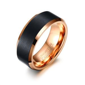 Erkek 8mm Siyah Gül Altın Renk Tungsten Düğün Band Yüzük Yıldönümü Yüzük Comfort Fit Ücretsiz Gravür