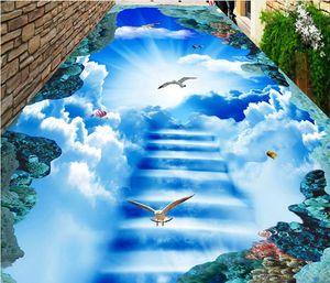 3d plancher papel parede personnalisé auto-adhésif photo 3d peintures murales au sol nuages ciel pigeon 3d étage pour salon chambre papier peint