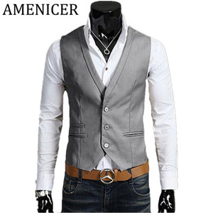 Wholesale- New 2017 Men Vests Korean Turn-down Collar Solid Single Breasted Slim Fit Fashion Casual Mens Vest Gilet Costume Homme 3 Color