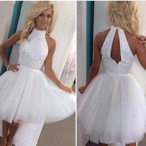Robes de soirée courtes blanches Perles Halter Neck Tulles Mini Robes de cocktail Sans manches Pageant Girls Jupe