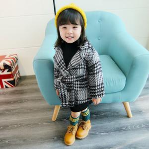 Garota outono inverno casaco de lã novo 2017 moda bebê meninas blazer casaco jaqueta crianças outwear romântico preto trench casaco