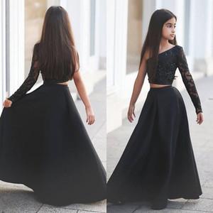 Arabic Said Mhamad negro un hombro manga larga niños vestidos de baile una línea de dos piezas con cuentas flor vestidos de niñas 2017
