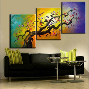 3 Panel Pure Handcraft Modern Abstract Art Oil Painting Crooked Tree,Home Wall Decor on High Quality Canvas in Multi sizes