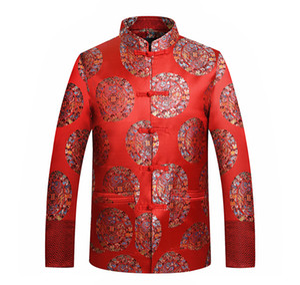 Tang gros- Veste de costume chinois traditionnel Vêtements Dragon / Phoenix broderie Bouton Oriental Mandarin Collar Up Costume de mariage