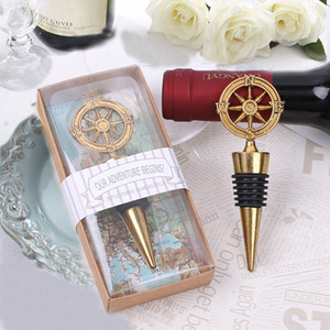 "Free Shipping 50PCS ""Our Adventure Begins"" Compass Bottle Stopper Event Gifts Champagne Stopper Nautical Theme Wedding Favors"