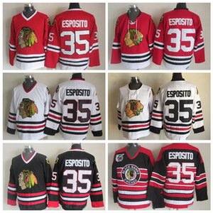 Vintage Chicago Blackhawks pullover del hokey # 35 Tony Esposito casa Red Vintage Tony Esposito 75 ° Anniversario nero cucito Jersey S-XXXL