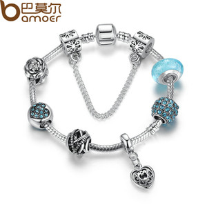 Wholesale-2016 BAMOER Hot Sale Vintage Bracelet Silver Plated Flower Bracelets with Glass  Girl Bracelets Accessories PA1886