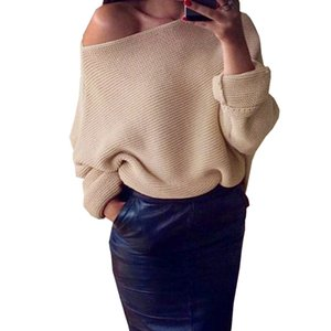 Atacado-Womens Ladies Casual Sweater Off Shoulder Batwing Manga Slash Neck Malha Oversize Baggy Camisola Quente Pullovers Top 22