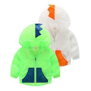 Jacke für Kind Kinder Sommermantel Sonne Schutzkleidung Jungen und Mädchen Dinosaurier Kapuzen leichte Atmungsaktiv