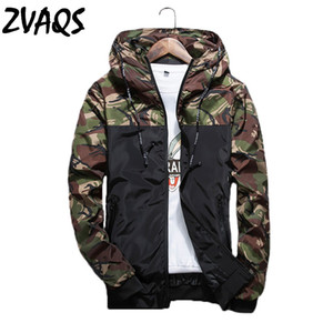 All'ingrosso- 2017 Fashion Mens Camouflage Jacket Marca Primavera Casual sottile maschio Camo Outwear Coat giacca con cappuccio XT080