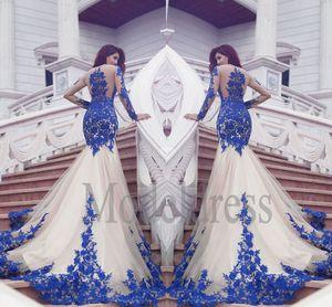 Champagne New Mermaid Prom Dresses 2019 Illusion A Maniche Lunghe Royal Blue Appliques Sweep Treno Abiti Da Sera Formale Abiti Vestidos De Fiesta
