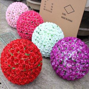 40 cm Élégant Artificielle Fleurs De Soie Décoratives Rose Embrasser Ball DIY Artisanat Ornement Pour La Décoration De Noce Décoration