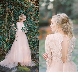 V-neck Long Sleeves A-line Tulle Bridal Dresses Vintage Champagne Wedding Gowns Backless Lace Bohemian Wedding Dresses