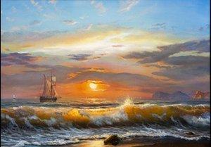 Enmarcado velero luz del sol mar, pintura al óleo pintada a mano genuina Inicio decoración de la pared del paisaje marino del arte en la calidad de la lona Multi tamaños libres del envío S038