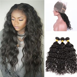 water wave pre plucked 360 lace band frontal with hair weaves wat and wavy hair bundles with lace frontal 22.5x4x2
