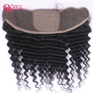Brasilianische tiefe Welle Silk Base Lace Frontal Schließung Jungfrau-Menschenhaar mit Baby-Haar 13x4 Ohr zu Ohr Lace Closure Pre-gezupft Top Lace