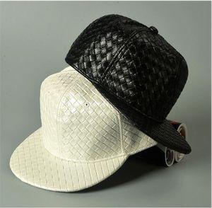 Cappelli in bianco fai-da-te coreano fai da te cappello in pelle hip-hop uomini e donne tessitura modello bordo piatto berretto da baseball