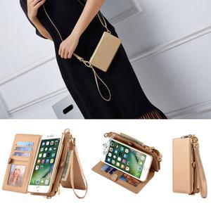 Bolso de las mujeres Monedero caja del teléfono multifunción soporte del tirón del cuero cubierta de la caja a prueba de golpes bolsa para el iPhone 11 Pro Max XR XS iPhone 12 Samsung
