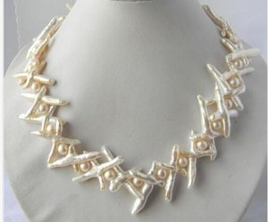 Increíble collar de plata de perlas de agua dulce barroca blanca de 20 mm x 35 mm