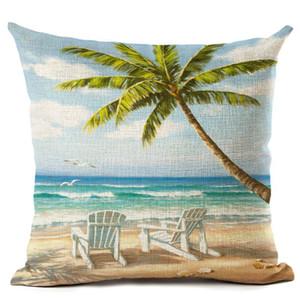 beau bord de mer scénique impression housse de coussin tropical palmier décoratif taie d'oreiller cas de vacances plage almofada européen cojines