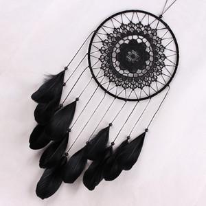 Hecho a mano Dreamcatcher Negro Pluma Encantador Indian Dream Catcher Bead Colgante Decoración Ornamento Regalo