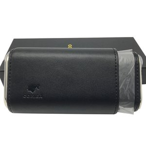 Hot Selling Portable Black COHIBA Cigar Humidor Leather Cigar Case Cigarette Humidor for smoker with gift box