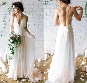 2020 Simples profunda V-neck Trem da varredura Vestidos de casamento com cintas Sex Fluxo Chiffon Backless Praia vestidos de noiva