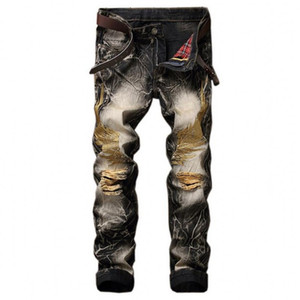 Lancinate Black Brand Jeans 2021 Nouveau Man Vintage Pantalon Embroidered 28-42 Golden Fear Mode God Ripped Of Jeans Large Size Wings Atbrd