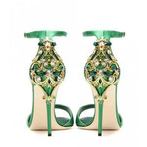 Neue Ankunft Marke Designer Frau Offene spitze Kristall Sandalen Party Kleid Hochzeit Schuhe 2017 Super High Heels Grün Kleid Schuhe Zapatos Mujer