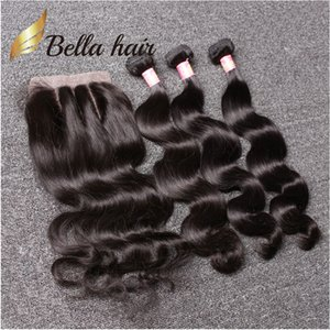 Белла Hair® 8А бразильские Пучки волос с закрытием 8-30 DoubleWeft человеческих волос волос соткать Закрытие Объемная волна Волнистые Julienchina