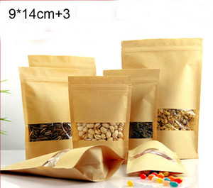 100pcs lot free shipping Kraft paper bags for nut good sealing bag for fresh food 9*14cm+3,packing bags wholesale