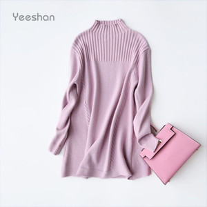 Wholesale-Yeeshan Turtleneck Cashmere Sweater Women Pink Grey Long Sweaters Female Pullovers and Sweaters Knitted Winter Sweater