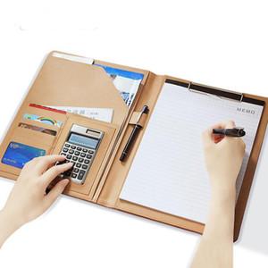 Pasta de Conferência A4 Carteira de Couro Genuíno Caso Organizador com Cartão de Calculadora Caneta Esferográfica Carteira de Documento Logotipo Personalizado