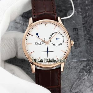 Haute Qualité MASTER ULTRA THIN Q1372520 Cadran Blanc Cal.938 Réserve de Marche En Verre Saphir Mens Montre Rose Or Bracelet En Cuir Montres