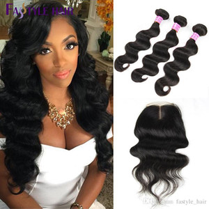 Fastyle Wholesale Indian Body Wave 3 paquetes de extensión con cierre de encaje suizo UNPROCESSED Peruvian malasio Indian Virgin tramas de cabello humano