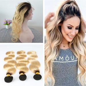 Ombre Blonde 1B 613 Pre desplumado 360 Frontal completo del cordón con 3Pcs Extensión del pelo Onda del cuerpo Virginal del pelo humano ata con 360 Frontal